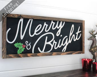 "Merry and Bright Sign, Merry Christmas Sign, Christmas Decoration, Farmhouse Holiday, Farmhouse Christmas, Christmas Decor, 21.5"" x 9.5"""