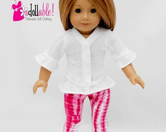 American made Girl Doll Clothes, 18 inch Doll Clothing, Trendy Tunic, Hot Pink Tie-Dye Leggings made to fit like American girl doll clothes
