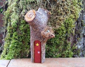 Mini Pixie Rusty Red Woodland Fairy House with Yellow Star, Bird Nest & Pine Cone Shingle Roof