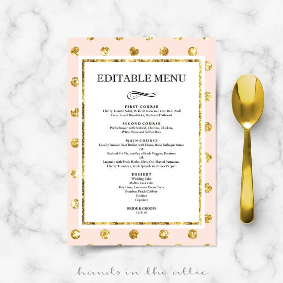 diy bridal shower menu cards for wedding reception engagement dinner buffet table pink blush. Black Bedroom Furniture Sets. Home Design Ideas