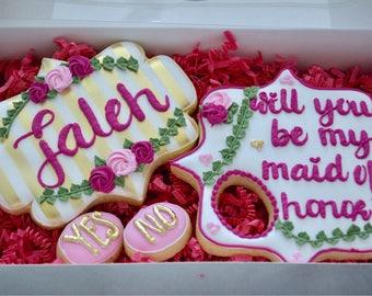 Will you be my Bridesmaid and Maid of Honor Proposal Box - Engagement Proposal Box - Bridal Party Gifts - Sugar Cookies -