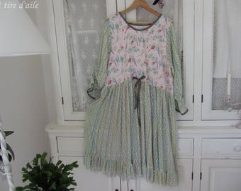 Dress large size, mesh fabric and cotton, with bright colors, shabby chic and romantic
