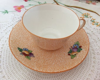 Vintage china, English fine bone china, floral china, Crown Staffordshire china, orange cup and saucer
