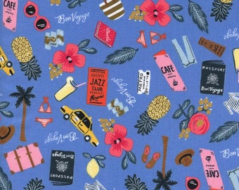 Bon Voyage in Periwinkle, Rifle Paper Co Fabric, Fabric by the Yard, Quilt Fabric, Floral Fabric, Cotton and Steel, Les Fleurs Fabric