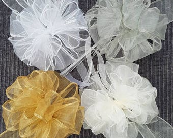 Large Bows. White Ivory Silver or Gold Organza Layered Ribbon Bow. Elegant Wedding Decorations. Bridal & Baby Shower Decor. Big Gift Toppers