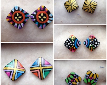 Ethnic coconut earrings hand painted