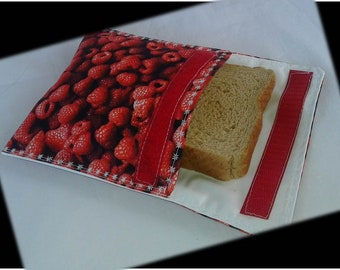 Sandwich Bag / Ecological Bag / Snack Bag / Snack Bag / Reusable Bag / Zero Waste / MOTIF:  RASPBERRY