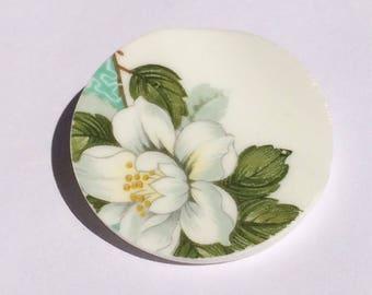 Magnolia pin brooch/ Upcycled china magnolia brooch/ 2nd wedding anniversary gift
