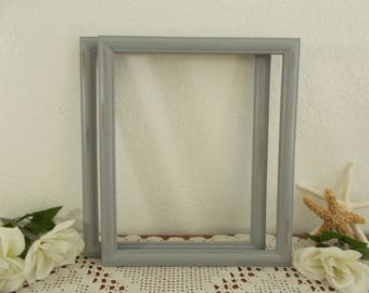 Grey Picture Frame 10 x 12 Rustic Shabby Chic Distressed Photo Decoration Up Cycled Vintage Wood Beach Cottage Coastal Seaside Home Decor