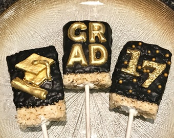 Graduation Chocolate Covered Rice Crispy Treats