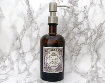 Monkey 47 Gin Bottle Soap Pump Dispenser (Water Repellent Label) Upcycled Bottle