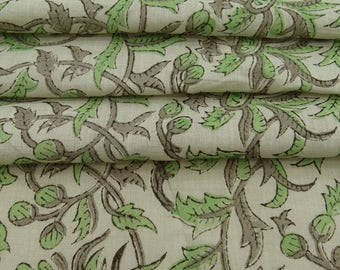 "Dressmaking Cotton Voile Fabric, Floral Print, Green Fabric, Craft Supplies, 46"" Inch Cotton Fabric By The Yard ZBC8145B"