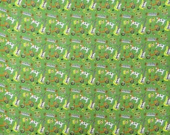 """Ethnic Fabric, Cartoon Print, Green Fabric, Home Accessories, Quilt Fabric, 46"""" Inch Cotton Fabric By The Yard ZBC8569A"""