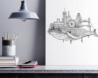 Humpback London Whale, Ink Drawing, Black & White, Printable Artwork, Home Decor, City Landscape