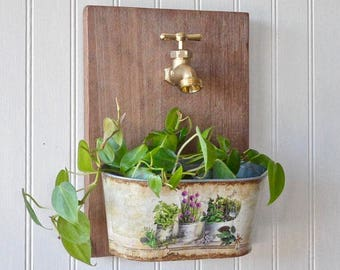 Faucet Wall Planter, rustic wall planter, indoor wall planter, farmhouse  decor, hanging