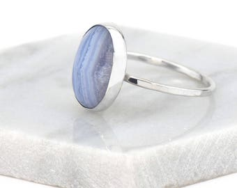 Blue Lace Agate Ring Gemstone Ring - Sterling Silver Rings for Women - Silver Statement Ring Boho Ring - Hammered Silver Ring for Her