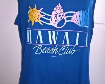 Vintage 80s Hawaii Beach Club singlet tank top size XL