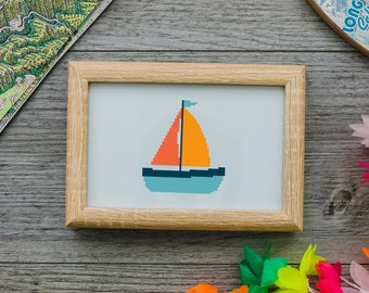 Sailboat cross stitch pattern Printable,Embroidery DIY, PDF printable #51