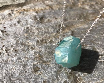 Aqua Blue Raw Agate W silver J charm necklace ( Large)