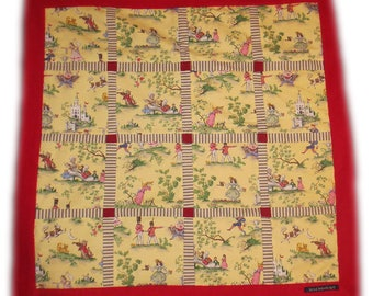 "Handmade DECORATIVE BABY QUILT ~ ""Cross-Quilt"" ~ Cotton / Fleece ~ Yellow & Red"