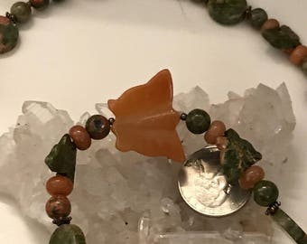 Unakite and Carnelian Butterfly Necklace