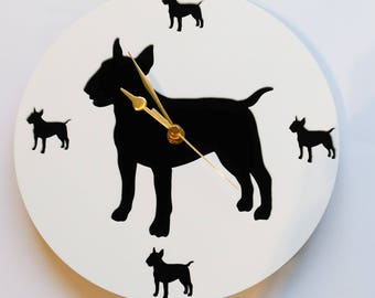 Miniature Bull Terrier Cut Out Acrylic Clock