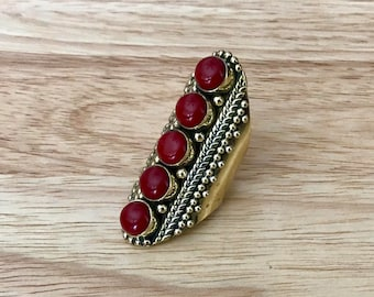 Vintage Multistone Coral Ring