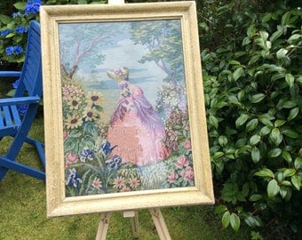 Beautiful Vintage Framed Tapestry of Crinoline Lady in a garden