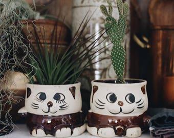Vintage Cute Cat Planters / Kitty Planter / Cat Decor / Cat Vase / Boho Vase / Boho Decor
