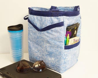 Faded Denim Tote Bag/Handmade Tote Bag/Free Standing Tote Bag/Office Tote/Beach Bag/Market Bag/Shopping Tote/Diaper Bag/Grocery Tote/USA