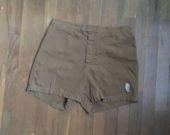 vintage 50s sand comber california brown swim trunks tiki lounge waist cinch high waist short shorts w32