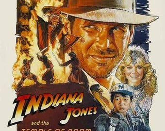 Indiana Jones and The Temple of Doom Harrison Ford  Rare Vintage Poster