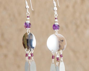 "Earrings ""Freya""in amethysts and sequins."