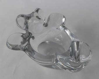 Vintage Vannes French Crystal Art Glass Bear Bowl / Dish / Ashtray