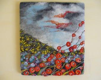 Felt Painting. Floral Landscape.