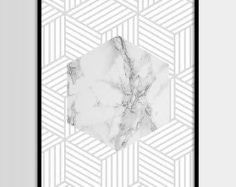 Abstract print, Modern print, Fashion art, Geometric, Grey, Marble print, Digital art, Printable art, Digital Instant Download 11x14, 8x10