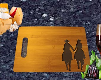 Western Couple Holding Hands Bamboo Cutting Board