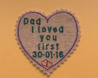 Shabby chic heart shaped tie patch for father of the bride