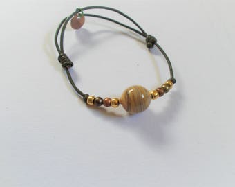 Hand made glass bead and leather cord bracelet