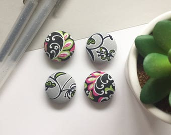 Floral Magnets, Paisley Magnets, Refrigerator Magnets, Kitchen Decor, Office Decor, White Board Magnets, Gifts For Teachers, Cubical Decor