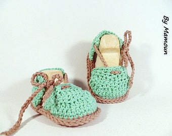Baby booties Sandals espadrilles baby (0-3 months) crocheted soft green 100% cotton