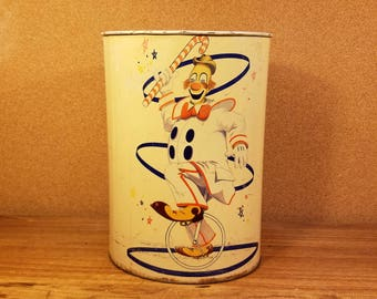 Vintage Unicycle Clown Oval Metal Trash Can