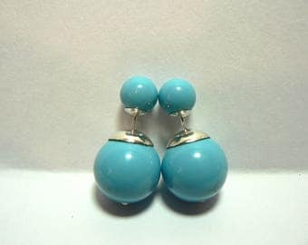 Sterling Silver Tribal Style Double Pearl Earrings. Pale Turquoise Blue Swarovski Pearls.
