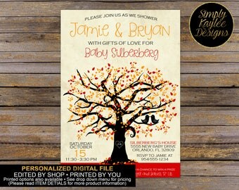 Fall Tree Baby Shower Invitation