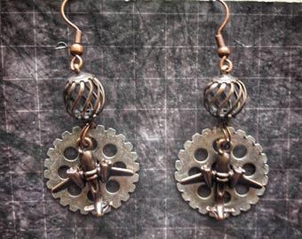 SALE!  Aviator Earrings Steampunk Earrings Travel Jewelry Gift For Pilot Steampunk  Time Travel Earrings Airplane Earrings Aviation Jewelry