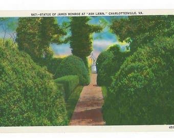 "Vintage Linen Postcard, 567-Statue of James Monroe at ""Ash Lawn"" Charlottesville, Va., Ephemera"