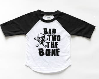 Second birthday shirt boy - skull birthday shirt - monochrome birthday raglan - second birthday raglan - bad two the bone - two shirt - tee