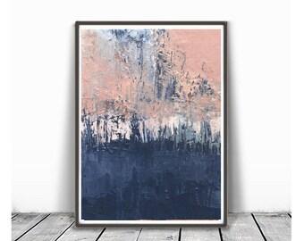 Printable Art,  Art Poster, Digital Download, Wall Decor, navy blue and pink, modern abstract, scandinavian design, peach , blue,