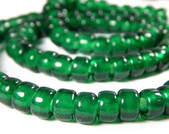 50 Pcs - 9x8mm Emerald Green Glass India Crow Beads - Crow Rollers - Glass Pony Beads - Jewelry Supplies