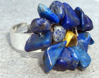 Silver lapis lazuli and amber ring (gemstones)